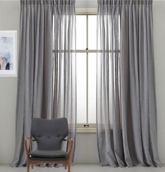 Custom Faux Sheer Linen Drapery Panels Pinch Pleat French