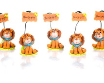Set of 5 lion to Capucakes handmade cake topper  polymer (cold porcelain) With or Without name