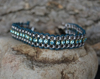 Blue and Silver Leather and Chain Bracelet