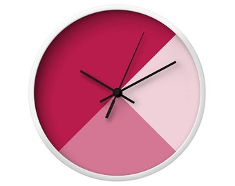 Mixed Geometrical Tones Wall Clock, 5 Colors, Scandinavian Modern Walls, Geometric Pattern, Pink Mixed Art, Cerise Wood Clock, Minimal Decor