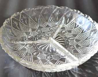 Vintage Glass Divided Relish Dish