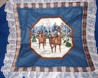 Blue Buck and Doe Winter Pillow Top