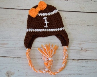 Crochet baby hat, crochet baby girl hat, crochet football hat, football hat, crochet toddler hat, crochet girl hat, bow hat, crochet bow hat