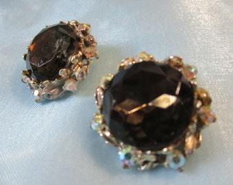 Vintage Black Rhinestone, Aurora Borealis Stones Surround, Clip on Earrings