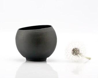 Minimalist Black Ceramic Tea Cup, Handmade Ceramic Coffee Cup