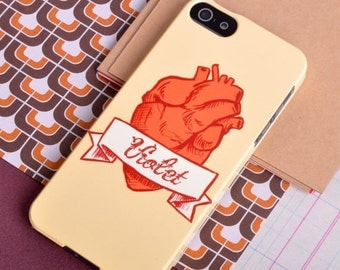 Personalised Anatomical Heart Illustration in a Tattoo Style Case for iPhone and Samsung Galaxy Cases, Pink and Purple, or Orange and Red