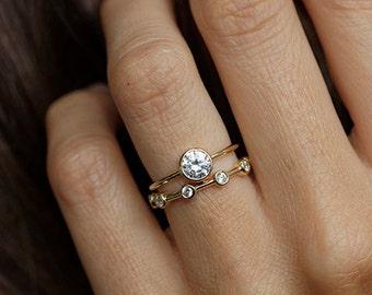 Bague de fiançailles diamant solitaire, Simple bague de fiançailles, bague diamant, ronde jaune bague en or diamant, bague de fiançailles or 18 k