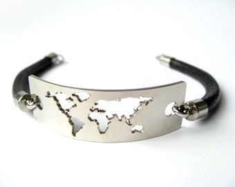 World Map / World Map Bracelet / Travel Map / World Map Jewelry / World Map Gift / Travel Bracelet / Wanderlust Bracelet / Travel Jewelry