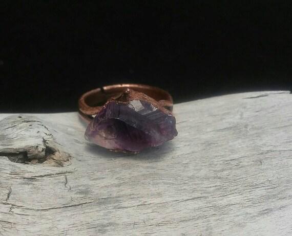 Raw Amethyst cluster Copper Electroformed Ring size 7 - Sortija Amatista Electroformado Rustica tamaño 7