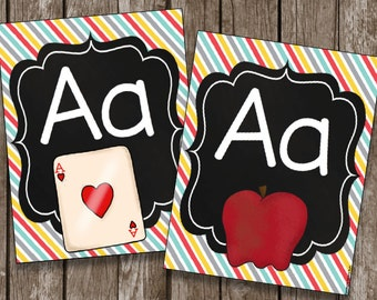 50% OFF SALE - Alphabet Posters - Cards - Chalkboard - Classroom