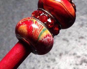 Red Splash Hair Stick (pick, stix)