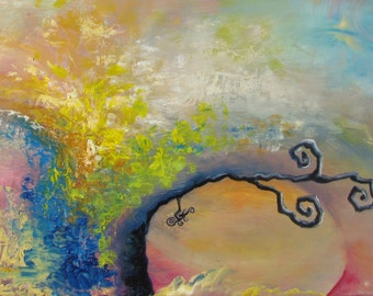INVOCATION- Oil colors on Canvas Painting 15''x30''
