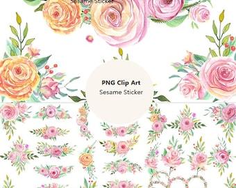 HD Watercolor [Flowers_3] PNG No Background Printable Planner Stickers Filofax/Kikki. K/Erin Condren Life Planner