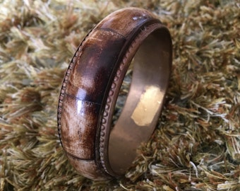 Vintage 1980s Brown Metal Bangle / Bracelet / Cuff