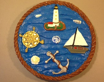 Lighthouse Stepping Stone, Garden Decoration, Lawn Decoration, Lighthouse, Sailboat,