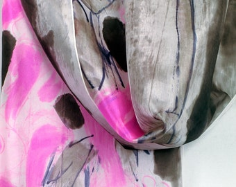 Hand painted silk scarf. Abstract, floral scarf in neon pink,grey. Neon silk scarf. Luxurious silk scarves. Painting on silk by Dimo