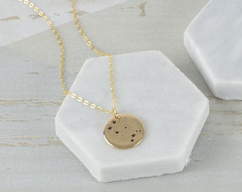 Gold Personalised Zodiac Constellation Necklace-Zodiac constellation necklace engraved with your message-Zodiac Constellation Charm