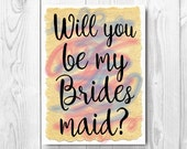 Will You Be My Bridesmaid Printable cards, DIY - Instant donwload Last minute