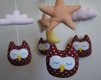 Mobile owls red pink cloud and moon yellow baby pink star
