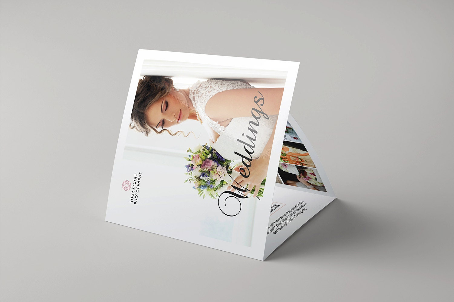 Wedding photography brochure template 5x5 in square trifold for Wedding photography brochure template