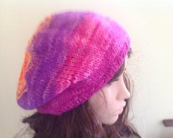 Slouchy tam, chunky beret , hand dyed yarn , Chunky beanie, floppy beret. Fuchsia, purple and orange.h..