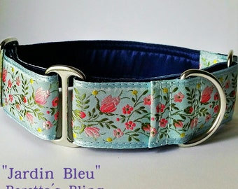 """Dog Collar, 1.5"""" or 2"""" -  """"Jardin Bleu"""" - Style Options Available yet"""