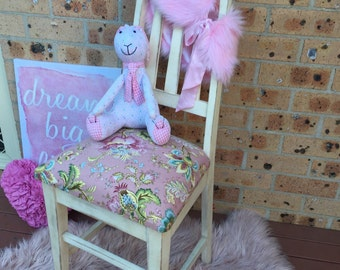 SOLD--Girls timber bedroom chair, accent chair, upholstered chair.