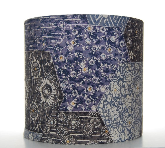 Blue Silk Lampshade with Floral Patchwork Effect Vintage Kimono Silk 20cm (8 inch) Drum Lampshade