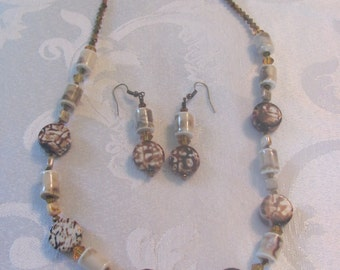 ceramic beaded necklace and earrings