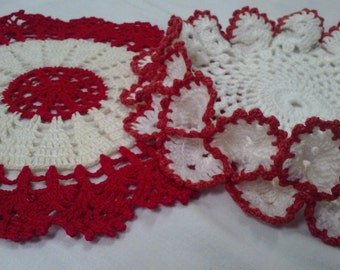 """Vintage CROCHET DOILIES, 7.5"""" and 8"""""""