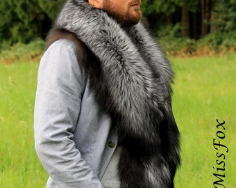 Saga Silver fox fur stole wrap X-Large.