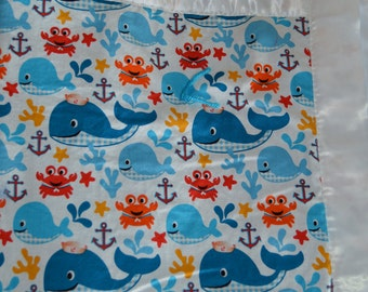 Whale Hand Tied Quilt, Blue Kids Blanket, Sailor Whale Blanket, Toddler Bedding, Under the Sea, Satin Binding, Proceeds to Charity