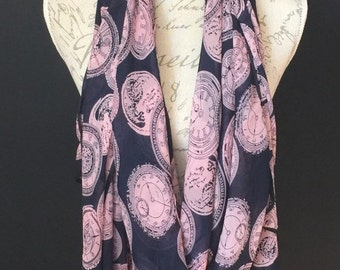 Navy and pink clock Scarf and a Half