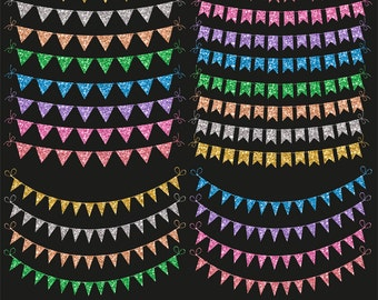 Glitter bunting banners clipart, bunting clipart, sparkle bunting, gold, silver, rose, blue, pink, purple, download