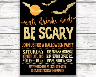 Halloween Invitation, Halloween Party Invitation, Eat Drink and Be Scary Invitation, Halloween Invite, Halloween Party Invite Printable