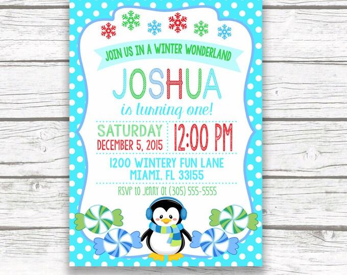 Winter Wonderland Birthday Party Invitation, Onederland Penguin Candy Candyland Boy Blue Birthday Invite, Printed or Printable Invitation