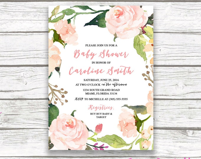Pink Boho Floral Wreath Baby Shower Invitation, Watercolor Rose Flower Girl Shower Invite, Printable