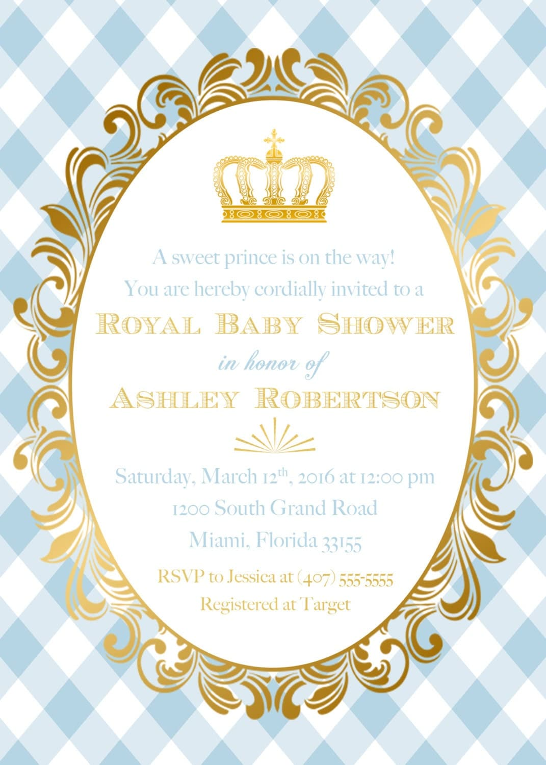 Prince Baby Shower Invitation Royal Gold Foil On Little Prince Baby ...