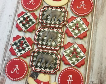 1 doz. University of Alabama Crimson Tide cookies