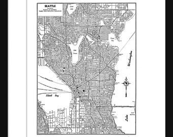 Seattle Vintage Map - Seattle - White - Print - Poster