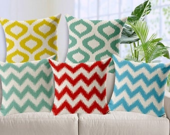 Modern fashion vector waves lines cushion cover, throw pillow cover