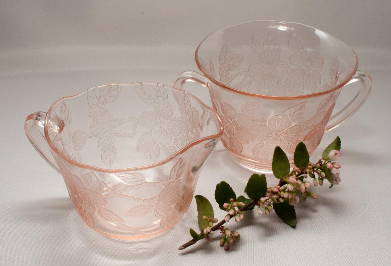 Vintage Pink Dogwood Sugar And Creamer Depression Glass