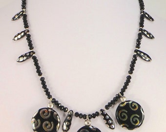 Black Art Glass and Spinel Necklace