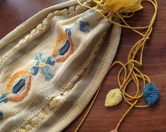 Early embroidered bohemian bag. Lined. Embroidered all over. 12x18 inches. Unusual. Collectable.