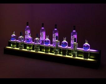 3Ft, 2 Step LED Light Shelf Tier, Bottle Step, Bar Bottle Organizer