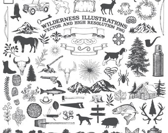 Camping Clipart, Animal Clipart - Nature Rustic Adventure Wilderness Hunting Clipart Clip Art PNG & Vector EPS, AI Design Elements Download