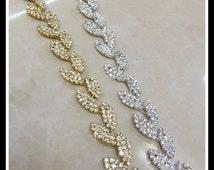 36 Inches Rhinestone Trim Leaves for Bridal Sashes, Headbands, Garters, Jewelry #0132