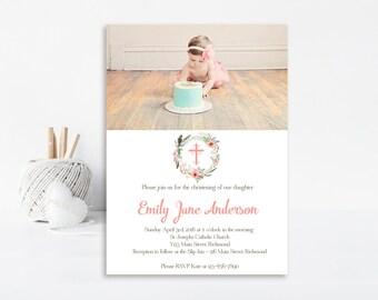 Vintage Baptism Invitation, Christening Invitation, Baptism Invite, Printable Invitation, Pink, Girl Baptism, Vintage Invitation, Floral