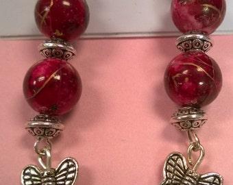 Maroon Butterfly Earrings