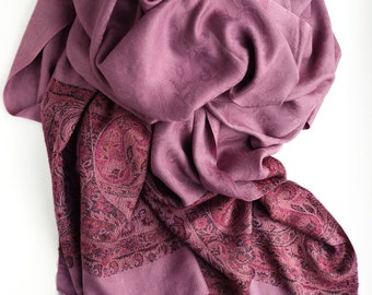 Lilac long scarf with ornament, Pashmina Scarf, woman's accessories, reversible scarf, gift for women, purple scarf, gift for women